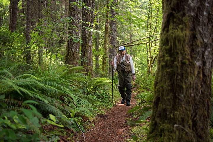 2016 JUN 16: Frank Moore, WWII Veteran, on the North Umpqua River in Oregon.